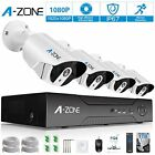 A-ZONE Security Camera System 4 Channel 1080P NVR 4x1080P HD IP PoE Outdoor lens