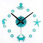 Creative DIY Fun Marine Mediterranean Starfish Crab Octopus Decor Wall Clock