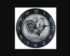"""Rooster Black and White Tin clock New 11 1/2"""" Round"""