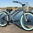 Aluminum Fat Tire Beach Cruiser 🌴? Sikk Bicycle 3 SPD Alloy w Teal Wheels
