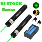2PC Bright Green Laser Pointer Pen 20 Miles Lazer+2*18650 Li-ion Battery+Charger
