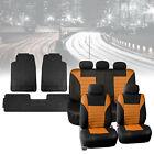 Mesh Car Seat Covers in Orange with Black Floor Mats Heavy Duty Full Set