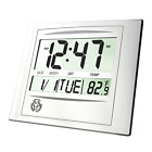 HeQiao Digital Wall Clock, 12 Inch Brushed Aluminum Decorative Desk Clock Silent