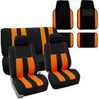 Full Set Car Seat Covers for Auto SUV Van Orange Black w/ 2Headrest/Floor Mat