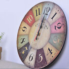Vintage Rustic Wooden Wall Clock Antique Shabby Chic Retro Home Decoration