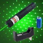 High Power Green Laser Pointer Pen 4mW 532nm Star Cap + 16340 Battery Charger