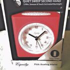 Equity Silent Sweep Analog Travel Alarm Clock Battery Operated New Neon Pink