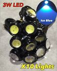 10x Ice Blue 3w high power LED puddle lights lens JDM VIP ground DRL for Honda c