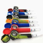 1 Set Silicone Tobacco Pipe Glass Water Pipes Herb pipe Fashional Cool 7 Colors