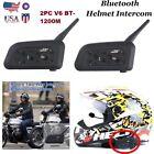 2 x V6 Bluetooth Motorcycle Helmet Interphone Intercom Headset 6 Riders 1200M