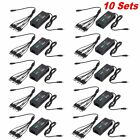 10 PCS 12V 5A Power Supply Adapter +8 Split Power Cable for CCTV Security Camera