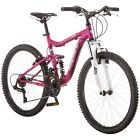 """24"""" Girls Mountain Bike Pink Full Suspension Bicycle Cycling 21 Speed Alloy Rims"""