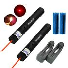 30 Miles 2PC Portable  Red Laser Pointer 4mw 650nm Pet Toy+2X Battery+2X Charger