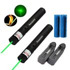 2x 50Miles Green Laser Pen Pen 532nm Cat Toy Beam Light 18650 Battery+Charger