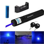 Adjustable Focus Blue Purple Laser Pointer Pen 405nm Blue Lazer+Battery+Charger