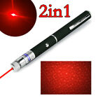 Pet Toy 1mW Red Laser Pointer Pen Star Cap Single Beam Bright Mini 2In1 Lazer