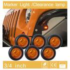 "6pcs 3/4""LED Flush Mount Amber round ATV Clearance lamp suv Side Marker mini 12v"