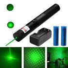 532nm Green Laser Pointer Pen 2in1 Star Cap Beam Light+2x 18650 Battery+Charger