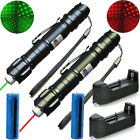 2PC 4mW Green Red Laser Pointer Star Cap Single 650/532nm+18650 Battery+Charger