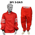 FIRE SUIT SFI 3-2A/5 JACKET & PANTS 2 PC 2 LAYER CLASSIC RED LARGE RJS RACING