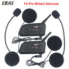 2x BT Motorcycle Bluetooth Intercom Full Helmet Interphone 6 riders 1200m V6 pro