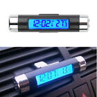 Car Interior A/C LED Back Blue Light Vent Clip Digital Clock Thermometer 2In1