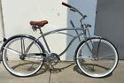 """Micargi 26"""" Cougar Men beach cruiser w spring fork bicycle bike Silver"""