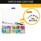 100pcs Mini Car Fuse Kit Color Coded Alligator Clip Electric Tester Fuse Puller