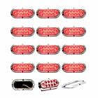 """12 pack of Clear/Red 6"""" oval surface mount stop/tail/turn LED w/ Chrome Bezel"""