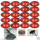 "20 Clear/Red Mini Oval w/SS Trim 3/4"" Clearance Marker Trailer Truck LED Light"