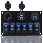 6 GANG ROCKER SWITCH PANEL  CAR MARINE BOAT CIRCUIT LED BREAKER VOLTMETER BLUE