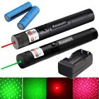 2PC 20 Mile 532/650nm Red Green Laser Pointer Pen 1mW Star Cap + Battery Charger