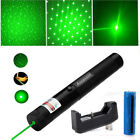 Mini Green Laser Pointer Pen Visible Beam Star Cap+18650 Battery+Charger Pet Toy