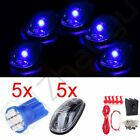 5PCS Blue 8SMD LED Clear Cab Roof Marker Running Light Lamps Wring Kit Truck SUV
