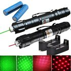 2x 30Miles 532/650nm Green+Red Laser Pointer Pen Star Cap+2x Battery+2x Charger