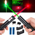2x Visible Beam Red+Green Laser Pointer Pen 532/650nm+2x 18650 Battery 2xCharger