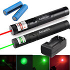 2PCS 20Mile Green Red Laser Pointer Outdoor Camping Lazer Pen Portable+Batt+Char
