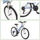 "MOUNTAIN BIKE Adult Outdoor Girl Sports Bike Alloy Rims Steel Frame Silver 24"""