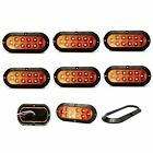 """6 pack of Amber 6"""" oval surface mount stop/tail/turn LED w/ Black Bezel"""
