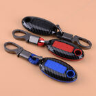 5 Button Carbon Fiber Remote Key Cover Case Shell Holder Chain Fit For Nissan