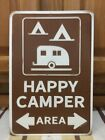 Happy Camper Area Parking Metal  Nature Wood Camping Cabin Vintage Style Hunting