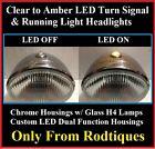 H4 Headlights w/ Turn Signal & Running Lights Chrome Hot Rod Rat Rod---Pair --TF