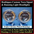Turn Signal Running Light 36 LED Dietz Chrome Headlights Streetrod Custom 4x4 TF