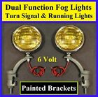 "6 Volt Turn Signal 5"" Amber Fog Running Lights & Painted Brackets Car Truck 6v 1"