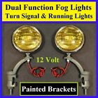 "12 Volt Turn Signal 5"" Amber Fog Running Lights & Painted Brackets  Hot Rod  3"