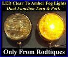 LED Clear to Amber Turn Signal / Park Driving Chrome Fog Lights Universal Misc