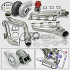 T4 GT45 5PC TURBO CHARGER KIT MANIFOLD+CROSS PIPE 79-93 FORD MUSTANG 5.0L V8