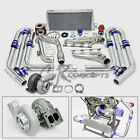 T4 GT45 10PC TURBO CHARGER KIT MANIFOLD+CROSS PIPE 79-93 FORD MUSTANG 5.0L V8