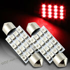 2x 41mm 16 SMD Red LED Festoon Dome Map Glove Box Trunk Replacement Light Bulb