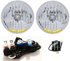 "7"" H4 10 LED TURN SIGNAL & PARK HEADLIGHTS w/ RELAY HARNESS & FLASHER 1"